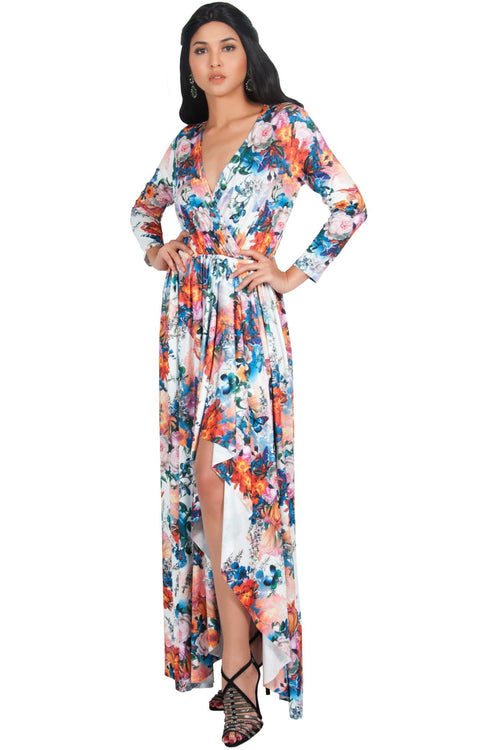 REXI - Long Sleeve Flowy V-neck Floral Print Casual Maxi Dress Gown - White & Orange / Large