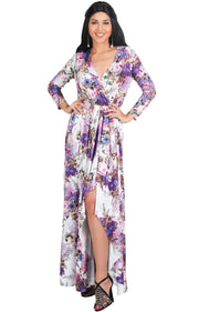 REXI - Long Sleeve Flowy V-neck Floral Print Casual Maxi Dress Gown - White & Purple / Large