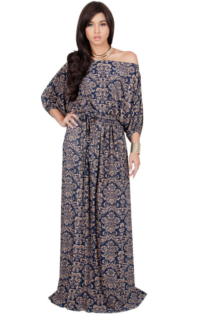 ROSA - One Shoulder 3/4 Sleeve Vintage Print Maxi Dress - Navy Blue & Brown / 2X Large