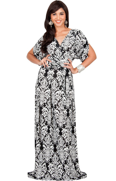 ROXANNE - Short Sleeve Lace Print V-Neck Elegant Maxi Dress - White & Black / 2X Large