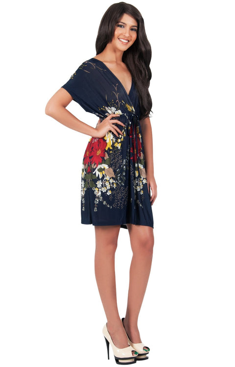 RUBY - Kimono Short Floral Print Beach Sun Knee Length Mini Dress