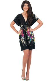 RUBY - Kimono Short Floral Print Beach Sun Knee Length Mini Dress - Black / 2X Large
