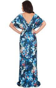 RUVA - Sun Summer Beach Flower Long Kimono Casual Print Maxi Dress