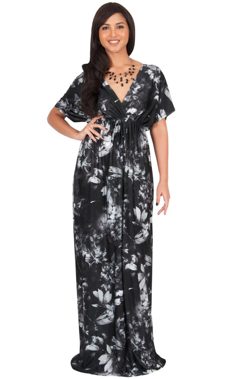 RUVA - Sun Summer Beach Flower Long Kimono Casual Print Maxi Dress - Black & Gray / 2X Large