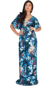 RUVA - Sun Summer Beach Flower Long Kimono Casual Print Maxi Dress - Blue & Green / 2X Large