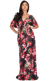 RUVA - Sun Summer Beach Flower Long Kimono Casual Print Maxi Dress - Red & Black / 2X Large