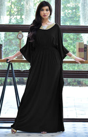 SAFFIANA - Flowy Dolman Sleeve Maxi Dress Long Kaftan Flattering Abaya - Black / 2X Large