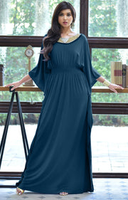 SAFFIANA - Flowy Dolman Sleeve Maxi Dress Long Kaftan Flattering Abaya - Blue Teal / 2X Large
