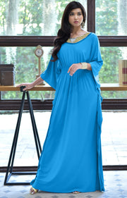 SAFFIANA - Flowy Dolman Sleeve Maxi Dress Long Kaftan Flattering Abaya - Blue Teal Quartz / 2X Large