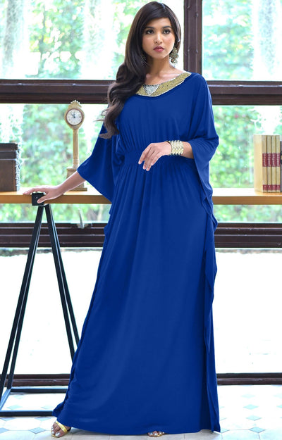 SAFFIANA - Flowy Dolman Sleeve Maxi Dress Long Kaftan Flattering Abaya - Cobalt Royal Blue / Small