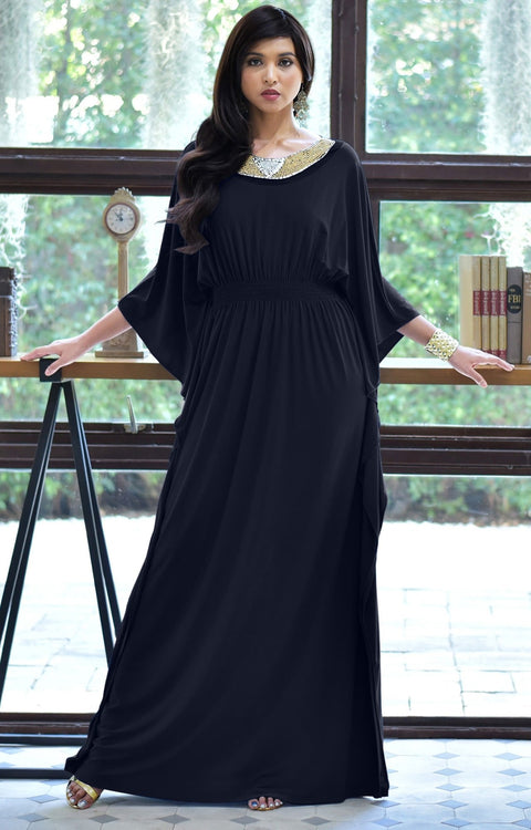 SAFFIANA - Flowy Dolman Sleeve Maxi Dress Long Kaftan Flattering Abaya - Dark Navy Blue / 2X Large