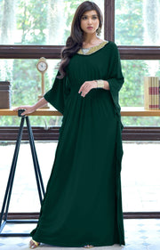 SAFFIANA - Flowy Dolman Sleeve Maxi Dress Long Kaftan Flattering Abaya - Emerald Green / 2X Large