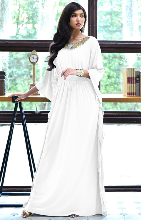 SAFFIANA - Flowy Dolman Sleeve Maxi Dress Long Kaftan Flattering Abaya - Ivory White / 2X Large