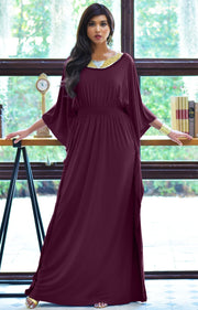 SAFFIANA - Flowy Dolman Sleeve Maxi Dress Long Kaftan Flattering Abaya - Maroon Wine Red / Small