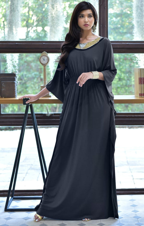 SAFFIANA - Flowy Dolman Sleeve Maxi Dress Long Kaftan Flattering Abaya - Slate Gray Grey / 2X Large