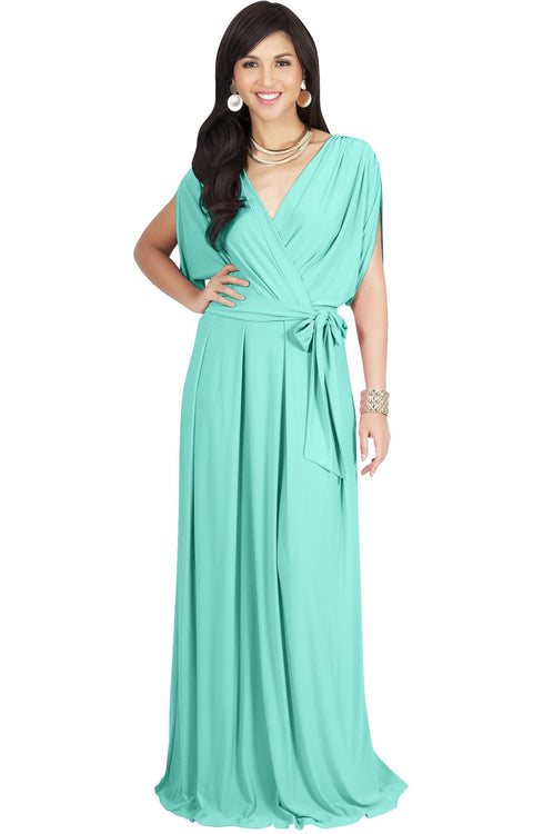 SAMANTHA - Short Sleeve Maxi Dress Flowy Maternity Formal Evening Wear