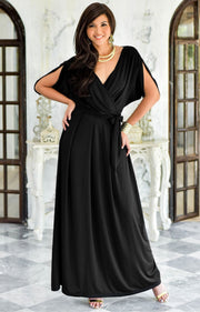 SAMANTHA - Short Sleeve Maxi Dress Flowy Maternity Formal Evening Wear - Black / 2X Large
