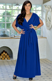 SAMANTHA - Short Sleeve Maxi Dress Flowy Maternity Formal Evening Wear - Cobalt / Royal Blue / 2X Large