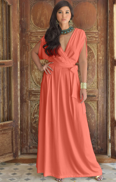 SAMANTHA - Short Sleeve Maxi Dress Flowy Maternity Formal Evening Wear - Coral Pink Peach / 2X Large