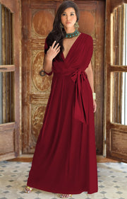 SAMANTHA - Short Sleeve Maxi Dress Flowy Maternity Formal Evening Wear - Crimson Dark Red / 2X Large