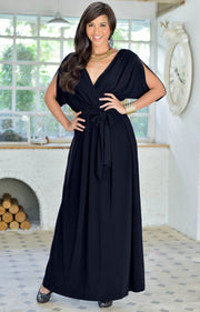 SAMANTHA - Short Sleeve Maxi Dress Flowy Maternity Formal Evening Wear - Dark Navy Blue / 2X Large