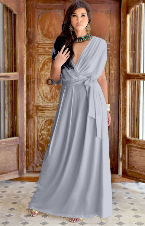 SAMANTHA - Short Sleeve Maxi Dress Flowy Maternity Formal Evening Wear - Gray / Grey / 2X Large