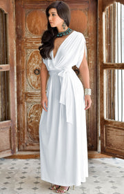SAMANTHA - Short Sleeve Maxi Dress Flowy Maternity Formal Evening Wear - Ivory White / 2X Large