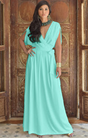 SAMANTHA - Short Sleeve Maxi Dress Flowy Maternity Formal Evening Wear - Light Mint Green / 2X Large