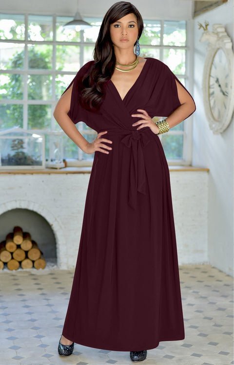 SAMANTHA - Short Sleeve Maxi Dress Flowy Maternity Formal Evening Wear - Maroon Wine Red / 2X Large