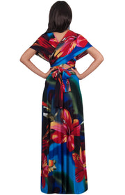 SARAH - Convertible Wrap Maxi Dress with Floral Print