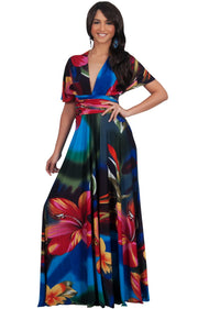 SARAH - Convertible Wrap Maxi Dress with Floral Print - Blue & Red & Green / 2X Large