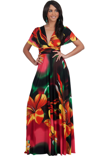 SARAH - Convertible Wrap Maxi Dress with Floral Print - Red & Yellow & Green / 2X Large
