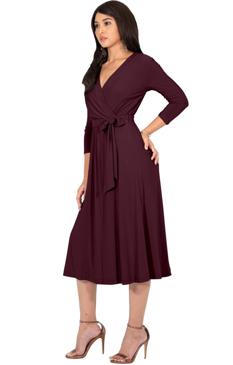 SARITA - Swing V-Neck 3/4 Sleeve Wrap Casual Knee Length Midi Dress