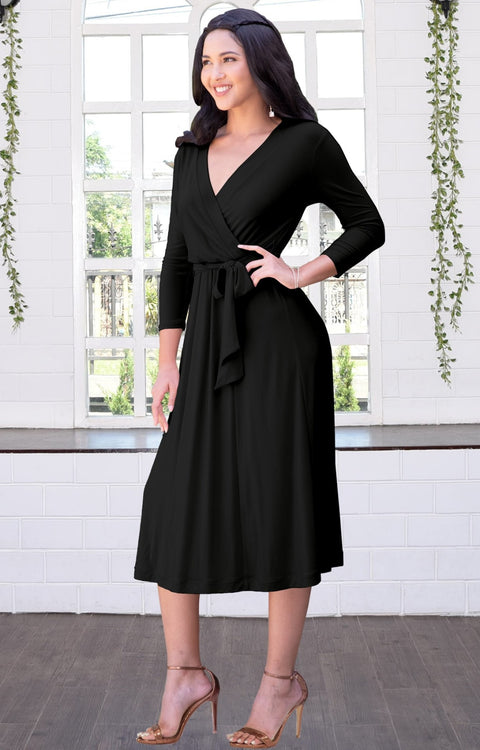 SARITA - Swing V-Neck 3/4 Sleeve Wrap Casual Knee Length Midi Dress - Black / 2X Large