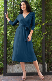 SARITA - Swing V-Neck 3/4 Sleeve Wrap Casual Knee Length Midi Dress - Blue Teal / 2X Large