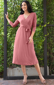 SARITA - Swing V-Neck 3/4 Sleeve Wrap Casual Knee Length Midi Dress - Cinnamon Rose Pink / 2X Large