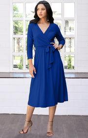 SARITA - Swing V-Neck 3/4 Sleeve Wrap Casual Knee Length Midi Dress - Cobalt Royal Blue / Small
