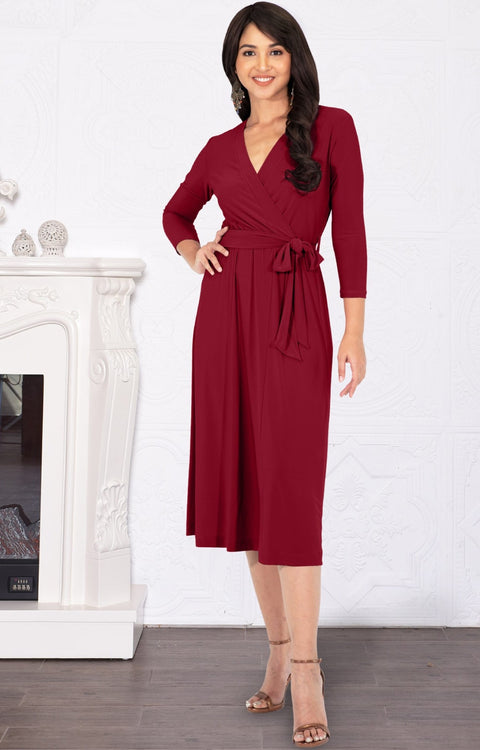 SARITA - Swing V-Neck 3/4 Sleeve Wrap Casual Knee Length Midi Dress - Crimson Dark Red / Medium