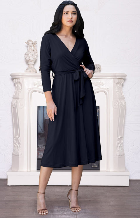 SARITA - Swing V-Neck 3/4 Sleeve Wrap Casual Knee Length Midi Dress - Dark Navy Blue / 2X Large