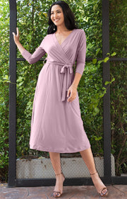 SARITA - Swing V-Neck 3/4 Sleeve Wrap Casual Knee Length Midi Dress - Dusty Pink / 2X Large