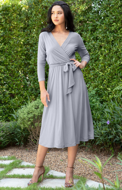 SARITA - Swing V-Neck 3/4 Sleeve Wrap Casual Knee Length Midi Dress - Gray Grey / Small