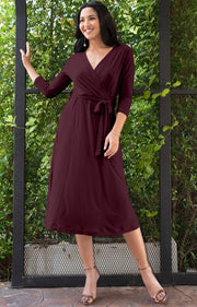 SARITA - Swing V-Neck 3/4 Sleeve Wrap Casual Knee Length Midi Dress - Maroon Wine Red / 2X Large