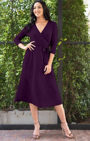 SARITA - Swing V-Neck 3/4 Sleeve Wrap Casual Knee Length Midi Dress - Purple / 2X Large