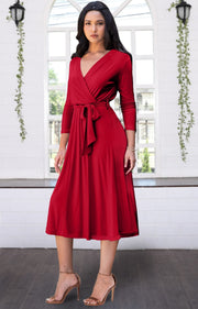 SARITA - Swing V-Neck 3/4 Sleeve Wrap Casual Knee Length Midi Dress - Red / Medium
