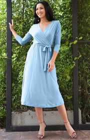 SARITA - Swing V-Neck 3/4 Sleeve Wrap Casual Knee Length Midi Dress - Sky Baby Light Blue / Medium