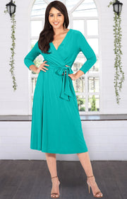 SARITA - Swing V-Neck 3/4 Sleeve Wrap Casual Knee Length Midi Dress - Turquoise / Medium