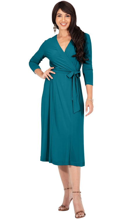 SARITA - Womens V-Neck 3/4 Sleeve Knee Length Waist Tie Midi Dress