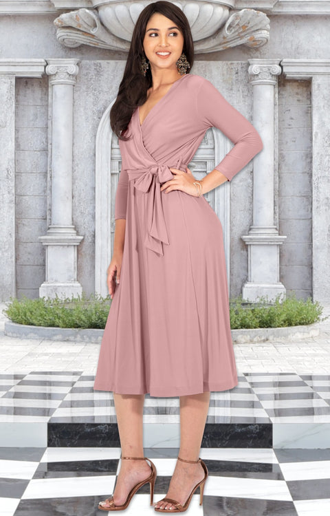 SARITA - Womens V-Neck 3/4 Sleeve Knee Length Waist Tie Midi Dress - Baby Light Pink / Small