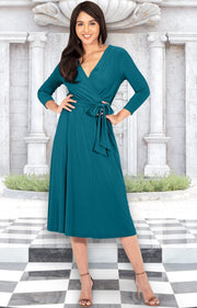 SARITA - Womens V-Neck 3/4 Sleeve Knee Length Waist Tie Midi Dress - Blue Green Jade / Small