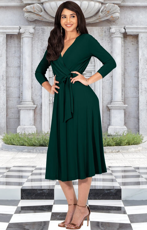 SARITA - Womens V-Neck 3/4 Sleeve Knee Length Waist Tie Midi Dress - Emerald Green / Small